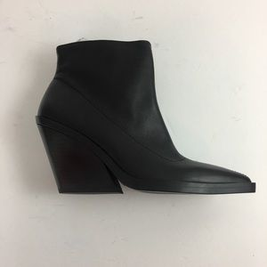 Zara Black Leather Wedge Ankle Boot S E 37 US 6.5